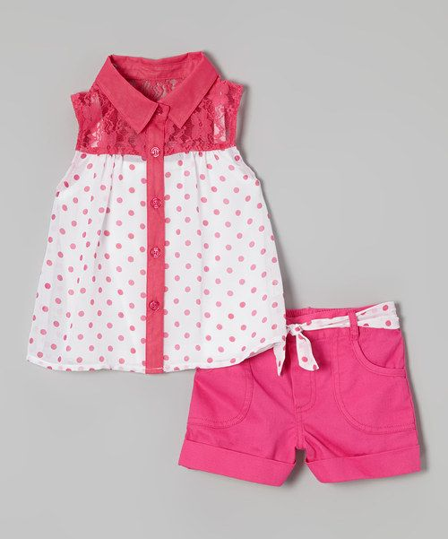 Even when mornings are rushed, this perfectly paired set conveniently ensures little ladies look their precious best. Lace and polka dots make the top soar with style, and a coordinating belt on the shorts top the ensemble with girly flair.
