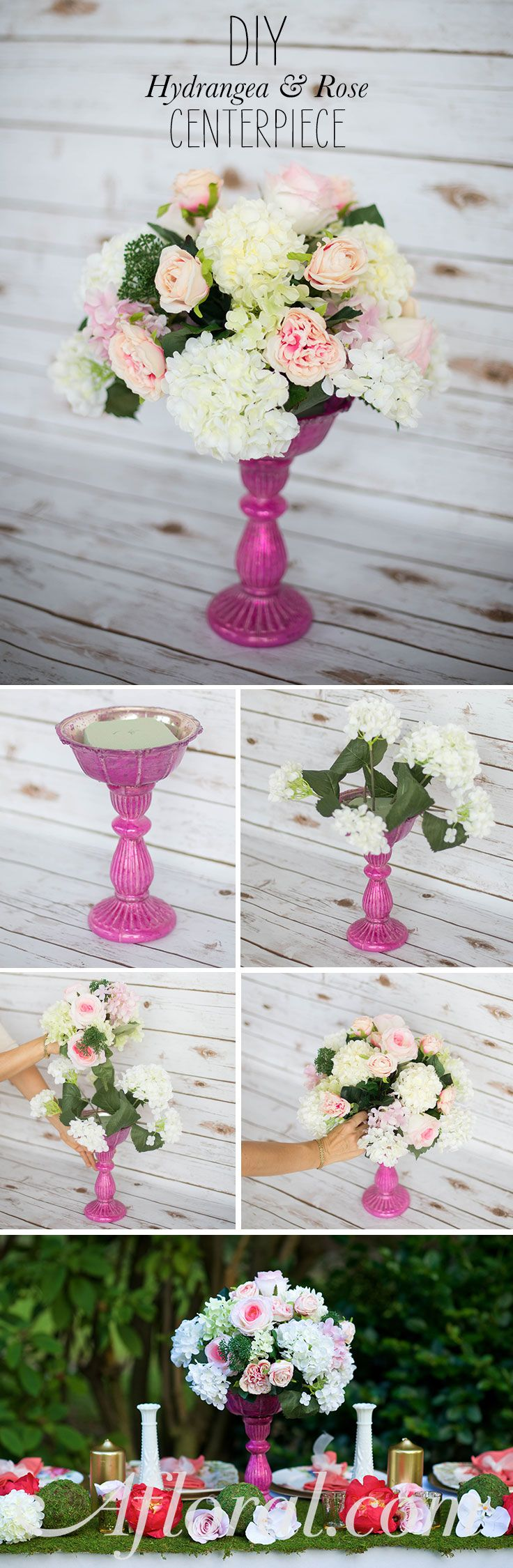 DIY Silk Flower Centerpiece.  You won't believe how lush and real these silk flowers are.  Create a gorgeous wedding centerpiece that you can keep for years after your wedding.  Start by placing floral foam in your favorite Afloral container.  Insert the hydranges and roses around the foam.  Continue adding flowers until there are no empty spaces and the arrangement is full and beautiful.  Find everything you need at Afloral.com.
