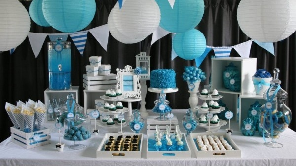 Lolly buffet table - black white and silver. Instead of lanterns and flags, use the Martha stewart balls