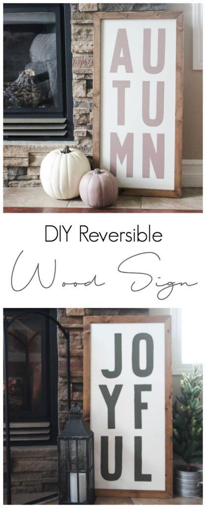 Love these Fall and Christmas custom wood signs! Learn how you can make your own custom wood sign for the home with this simple DIY tutorial.
