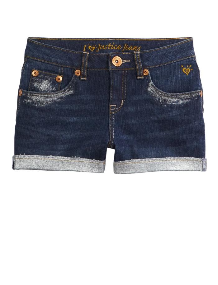 Glitter Hem Denim Short | Shorties 2½ Inseam | Shorts | Shop Justice