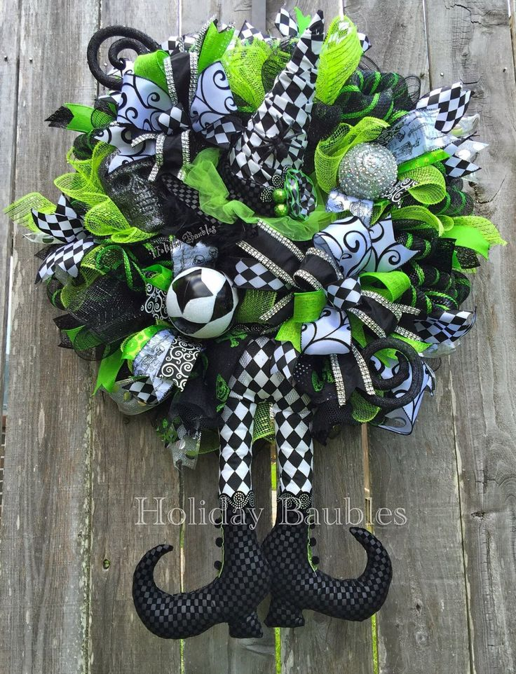 A personal favorite from my Etsy shop https://www.etsy.com/listing/469299785/witchy-wicked-bling-witch-wreath