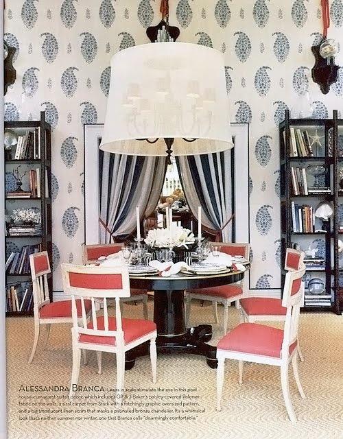 Sisal rug w/ wavy deco graphic from Stark carpet; translucent barrel scrim added to bronze chandelier; black pedestal table; paisley wallpaper from GP&J; Baker