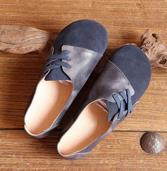 Handmade Women ShoesDark Blue Oxford Shoes Flat Shoes Retro