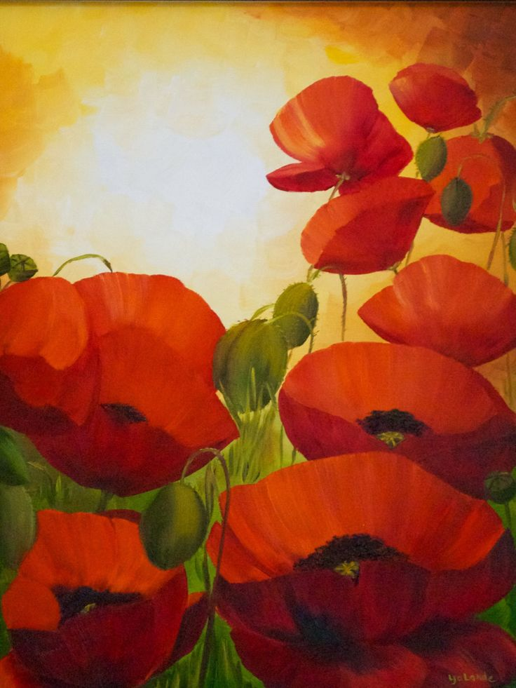 Poppies (acrylic on canvas, 20 by 15) by Montreal artist Yolande Pineault.