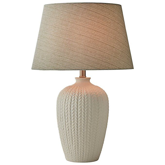 Stone Beam Patterned Table Lamp With Bulb 24 H White Lamp Led Light Bulb Bulb