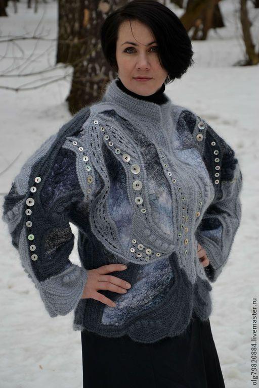 "Теплый жакет -куртка ""Во власти Луны"" - серый,абстрактный,теплая одежда"