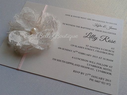 Baptism Invitation. Christening Invitation. C6 flat card. Printed on arctic white metallic card. Features pale pink ribbon & lace flower with pearl. Comes with arctic white envelope. Minimum 35 cards.