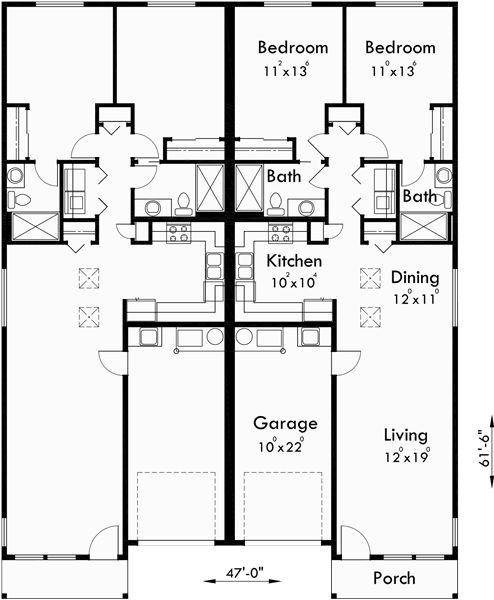 Main Floor Plan For D 529 Duplex House Plans, One Level Duplex House Plans