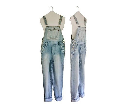 Women Denim Overall Pants 90s Overalls Women Bib Overall #thevillevintage