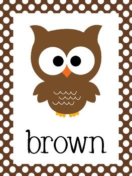classroom polka dot theme ideas | Owl Theme Polka Dot Color Posters - Andrea M - TeachersPayTeachers.com