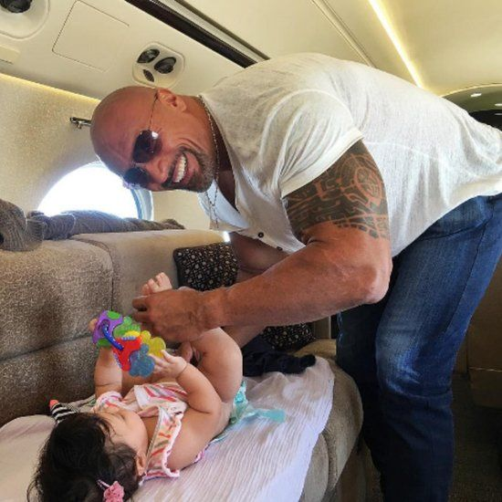 """The Rock"" Dwayne Johnson on Daddy duty to his daughter Jasmine #WWE #wwefamilies #wwekids"