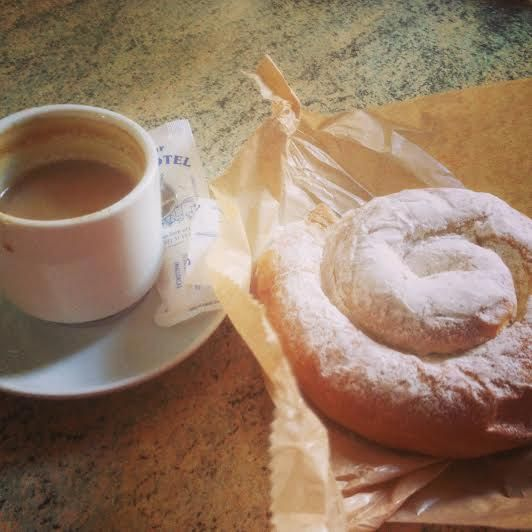 Breakfast ensaimada and coffee - #majorca #mallorca