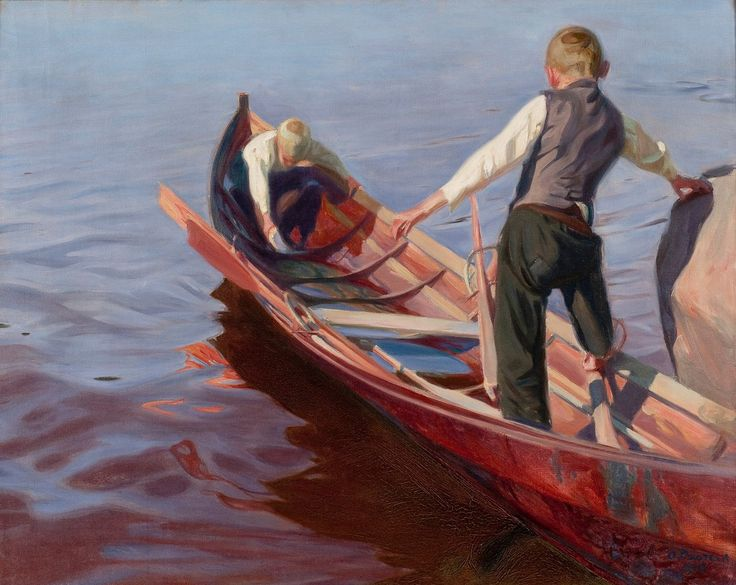 Boat Trip Oskari Paatela oil 1910