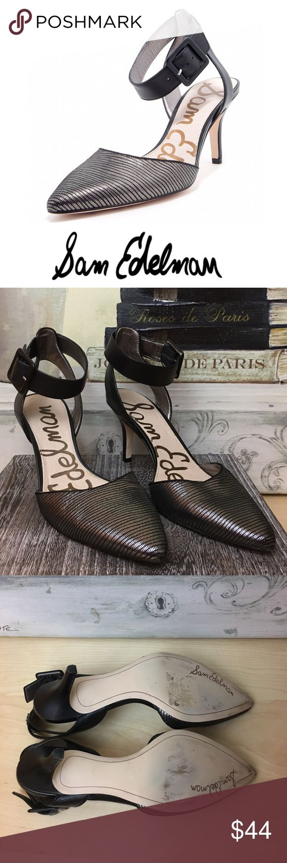 Sam Edelman Pewter Leather Heels Pewter pointed toe suede upper, leather sole ankle strap heels with 2 inch heel. Sam Edelman Shoes Heels