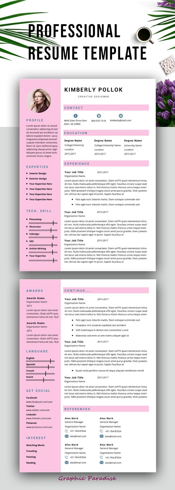 Resume template, Professional resume template instant download, resume template with cover letter, 3 page resume template, word resume #resume #resumetemplate #cv #cvtemplate