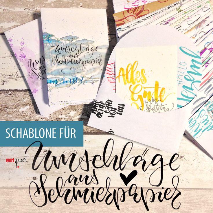 Umschläge aus Schmierpapier basteln – mit Schablone zum Herunterladen  Kuvert, Umschlag, Brief, Briefumschlag, basteln