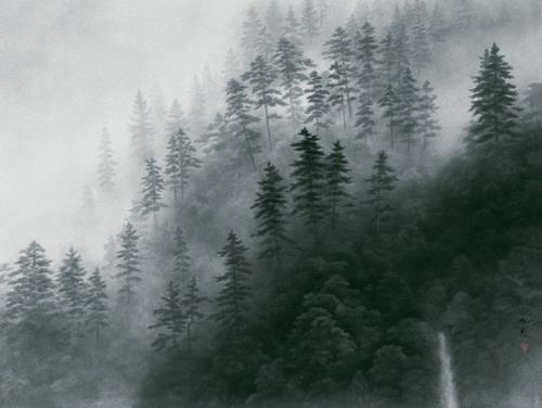 """Kaii Higashiyama """"Yugen - Mountain Mist""""(東山魁夷, 1908-1999) Painting"""