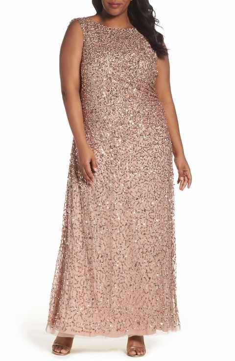 Adrianna Papell Sequin Cowl Back Gown (Plus Size)   MODA PLUS SIZE ... 6f31aa56b95d