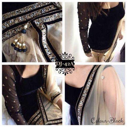 Velvet Black Semi Stiched Dress Material