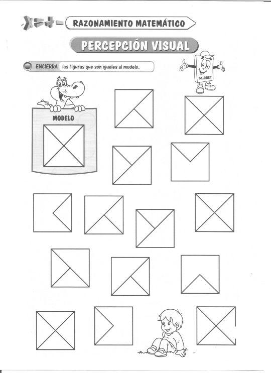 Ficha imprimible de razonamiento matemático. Tema: Percepción visual Actividad a realizar: Encierra las figuras que son iguales al modelo.