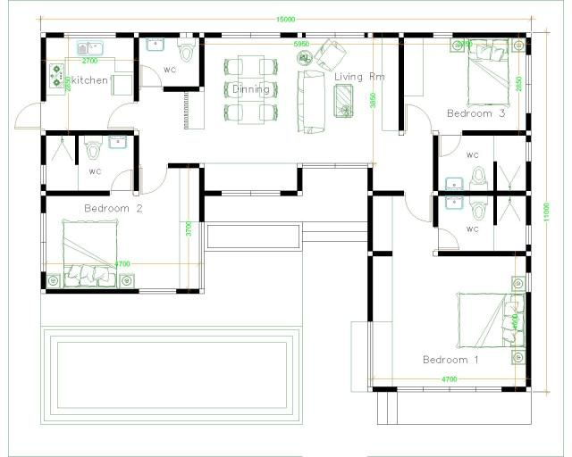 House Plans Idea 17x13 With 3 Bedrooms Slope Roof Sam House Plans House Plans Architectural House Plans How To Plan