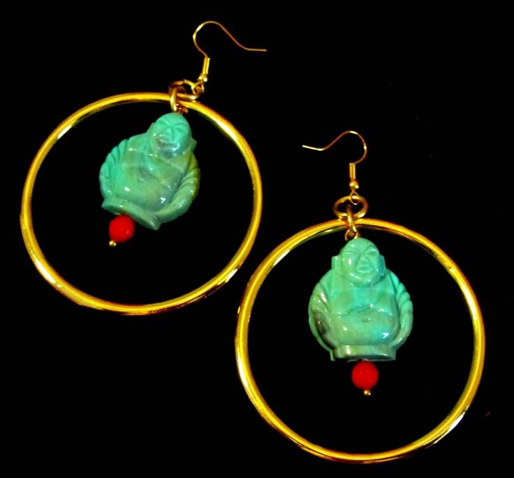 Zen turquoise red gold Buddha's earrings