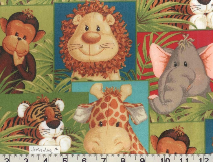 Baby jungle animals print fabric new 100 cotton quilting for Baby monkey fabric prints