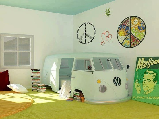 Awesome vw combi van bed crafty things pinterest for Cool hippie bedroom ideas