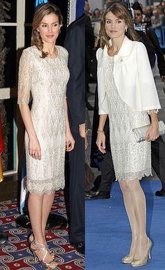 Repite estilismo La Princesa suele repetir estilismo como ocurrió con este vestido de fiesta blanco midi y de manga francesa con aplicaciones brillantes que lució en 2007 en los premios Príncipe de Asturias con torera blanca y también en su visita a Israel de un modo más primaveral sin medias y con sandalias