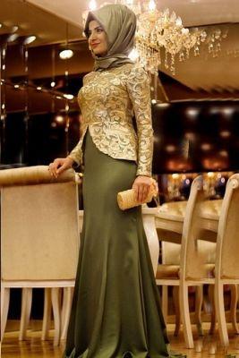 Pınar Şems Haki Saraylı Balık Abiye Elbise