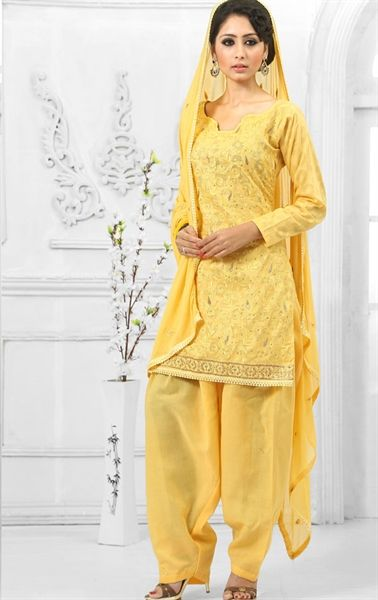 Picture of Sublime Yellow Lovely Ethnic Salwar Kameez