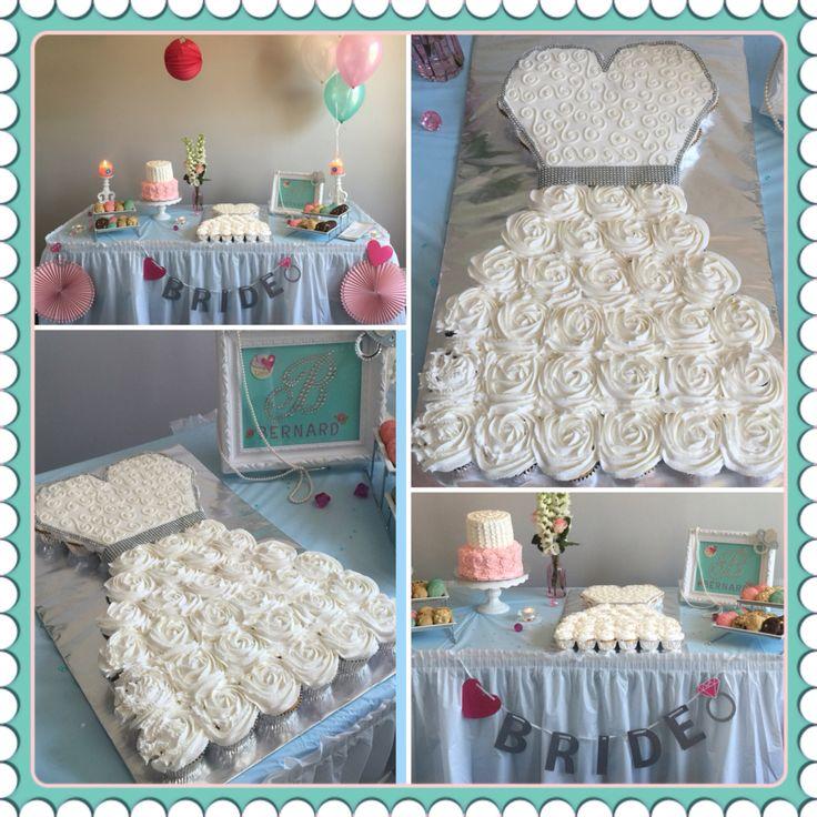 Bridal shower cake!  Cupcake pull apart wedding dress!