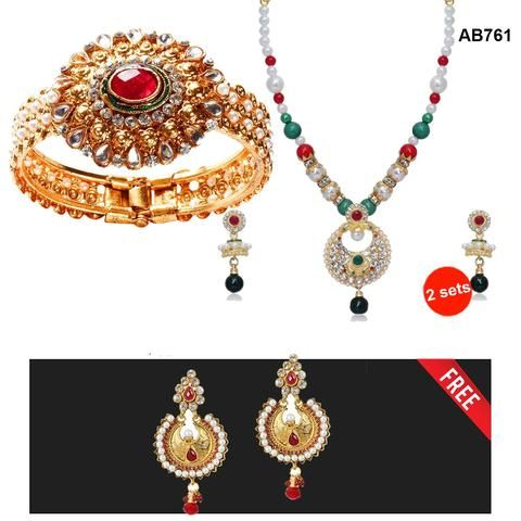 COMBOS-Multi Color  Alloy Jewellery Set - 1400214 , 2202110 , 1303790