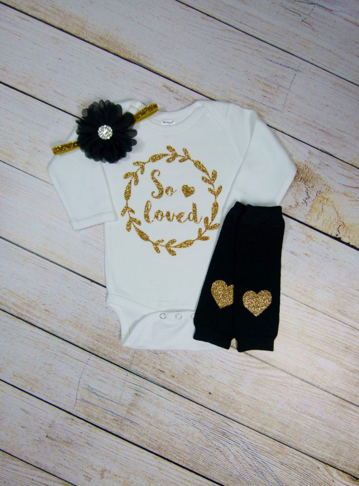 Newborn Girl Take Home Outfit So Loved Black Gold Glitter Hearts Headband Leg Warmers Baby Girl Outfit Clothing Gift Coming Home Set by mamabijou on Etsy https://www.etsy.com/listing/262125260/newborn-girl-take-home-outfit-so-loved