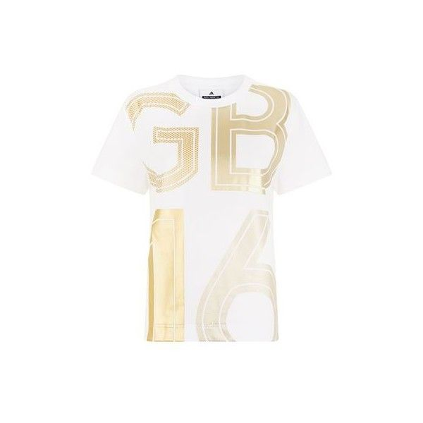 Adidas By Stella McCartney Team GB Gold Foil T-Shirt ($39) ❤ liked on Polyvore featuring tops, t-shirts, round neck t shirt, white t shirt, white sports t shirt, logo t shirts and white logo t shirts