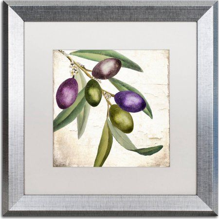 Trademark Fine Art Olive Branch I Canvas Art by Color Bakery, White Matte, Silver Frame, Size: 16 x 16, Assorted