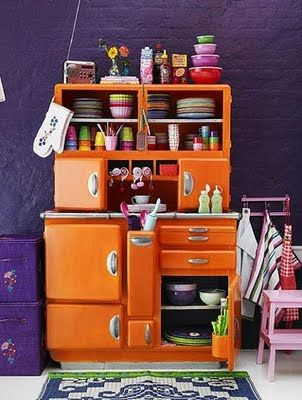 purple & orange & blue........: Hoosier Cabinets, Orange Kitchens, Bohemian Looks, Color, Kitchens Cupboards, Home Deco, Kitchens Cabinets, Kitchens Storage, Purple Kitchens