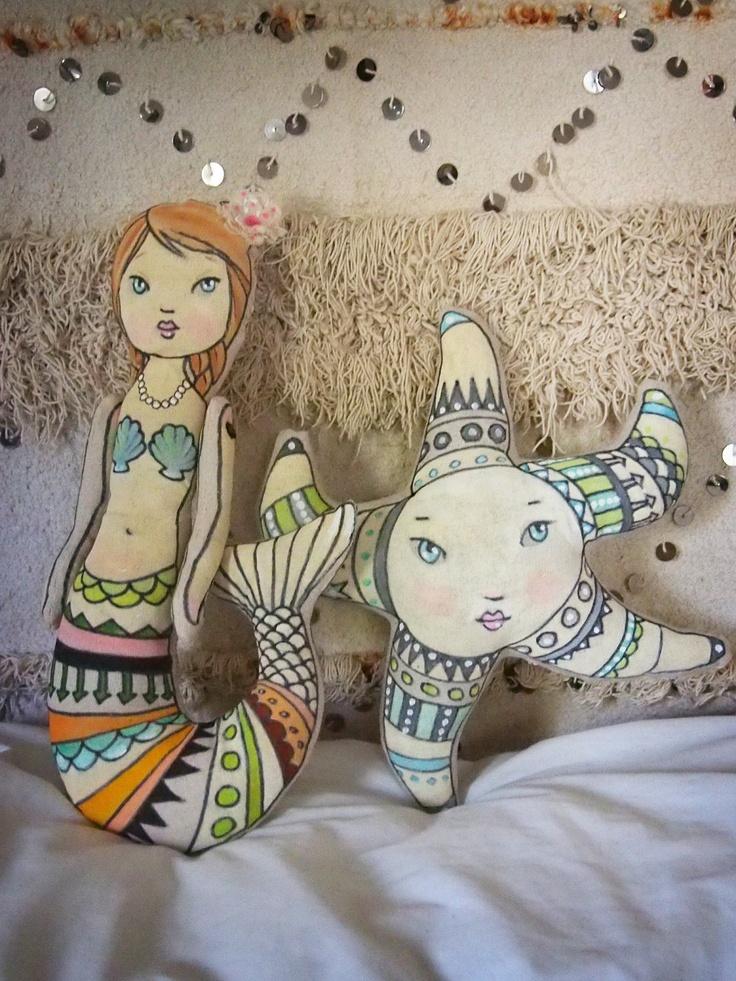 Little mermaid softie OOAK jointed doll soft by maialarkin on Etsy