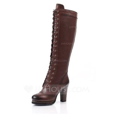[R$ 387.01] Couro verdadeiro Salto robusto Bota no joelho Martin botas com Aplicação de renda sapatos (088052945)
