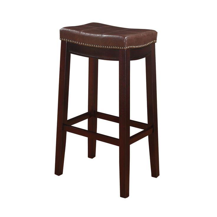 Linon Manhattanesque Backless Bar Stool, Vinyl Seat