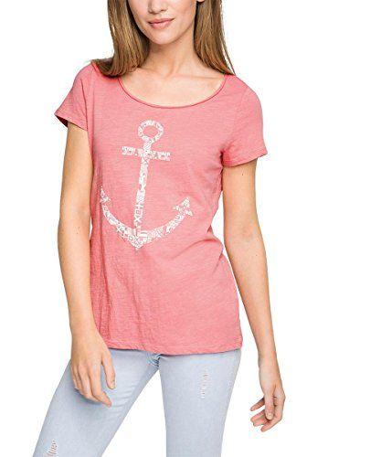 camiseta manga corta para mujer, en color rosa, y con un diseño náutico, vintage y original.