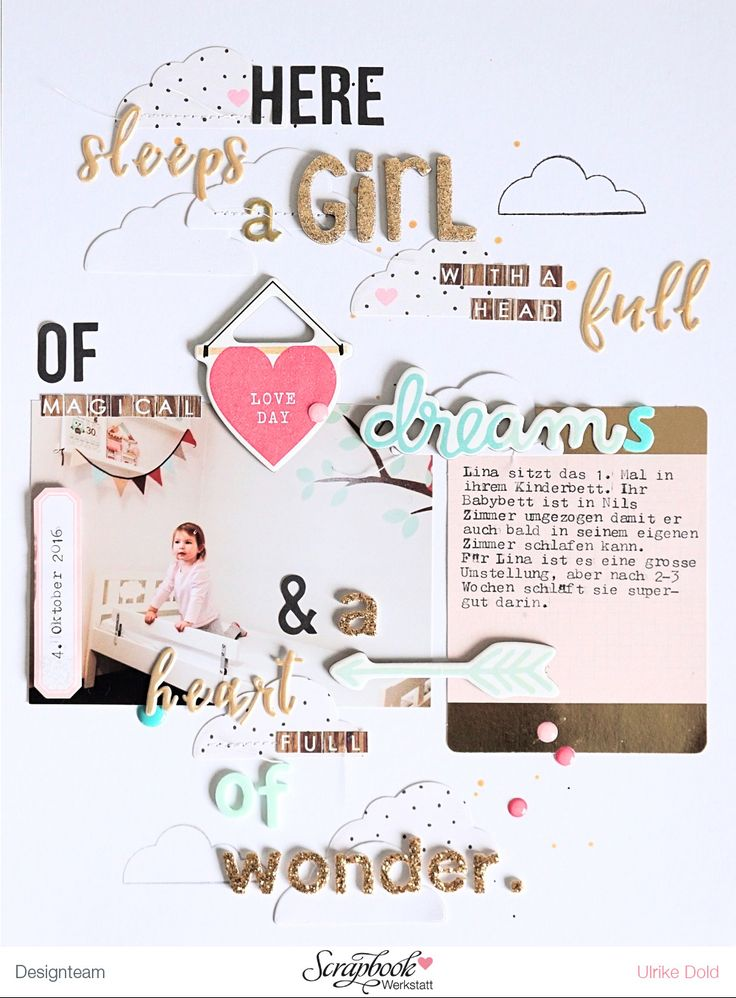 Layout *Here sleeps a girl...* - Crate Paper *Bloom*, *Heart Day*, *Gather* & *Cute Girl* - von Ulrike Dold