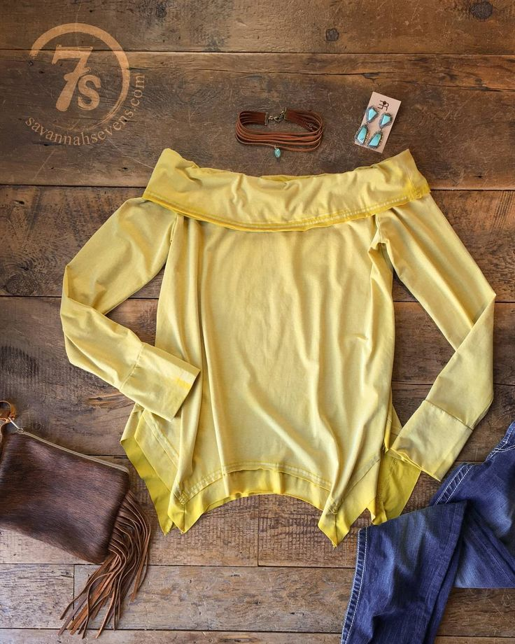 Nothing says Saturday like The Kota with it's comfy fit and sassy off the shoulder style -- and we are LOVING this vintage distressed yellow hue. AH-mazing!#savannah7s #savannahsevens #springstyle #coldshoulder #sosassy