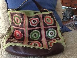 ISABELLA-FIORE-Marron-Cuero-Crochet-Tachonado-Grande-Hobo-Bolso-de-hombro