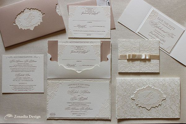 Letterpress and lace wedding invitation with muted tones, by Zenadia Design.