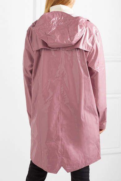 Rains Hooded Glossed Pu Raincoat Pink Glossed Hooded Rains Regenjacke Regenmantel Jacken
