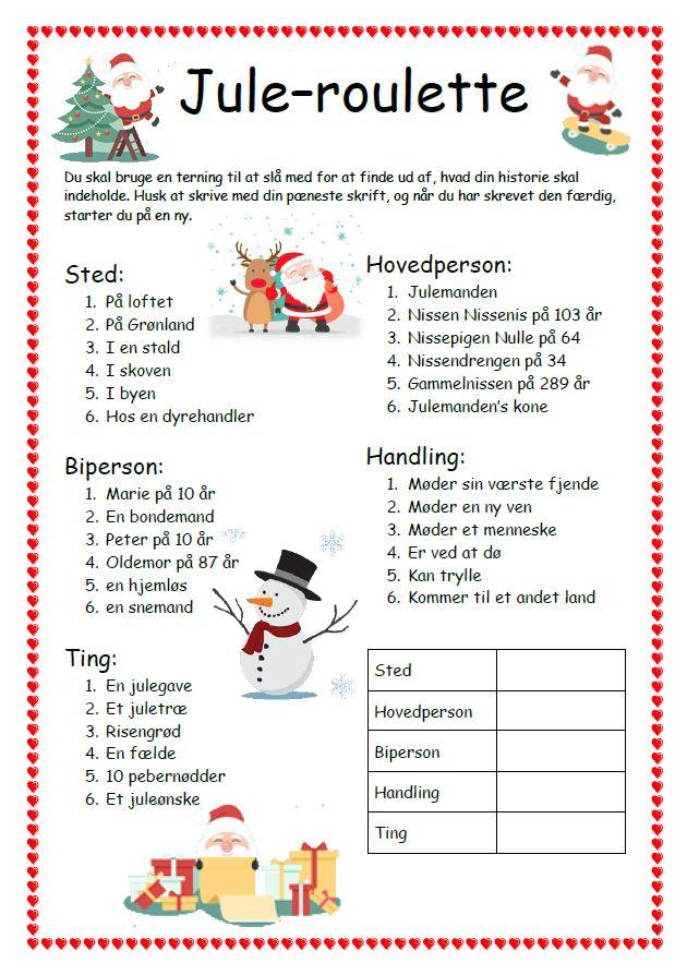 Dette materiale er udarbejdet af Christina Jokobin Roland. Så skal der gang i juleskriveriet. Skriv julehistorier på en...