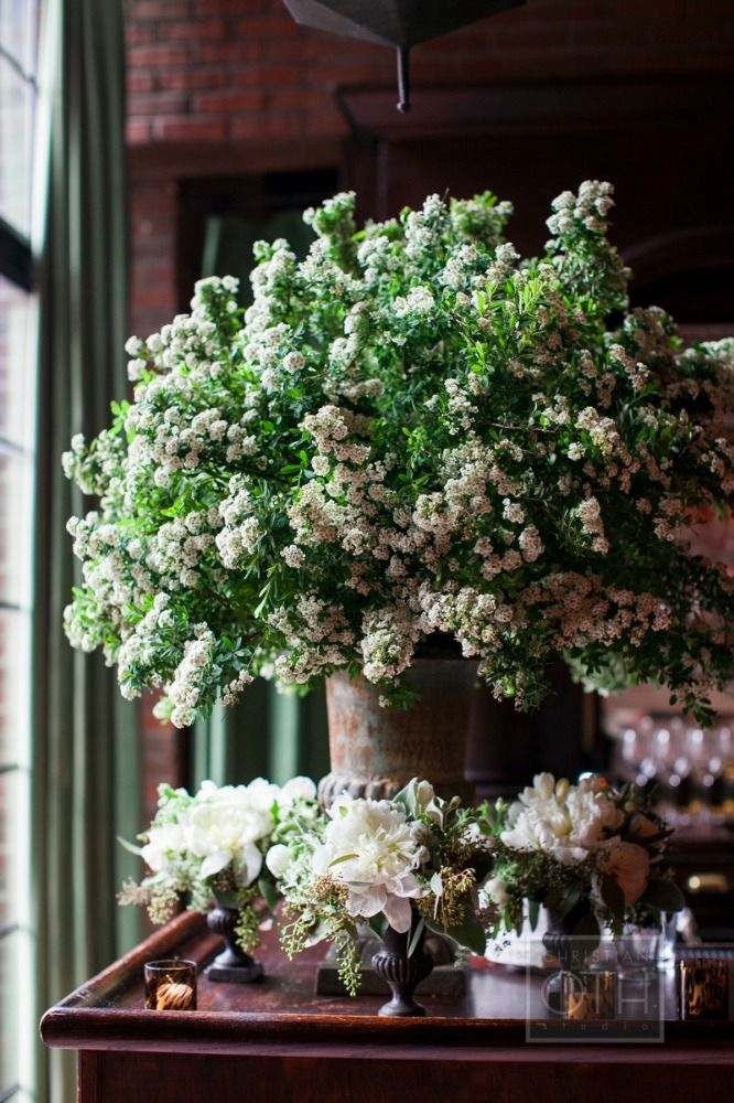 white & green arrangement: