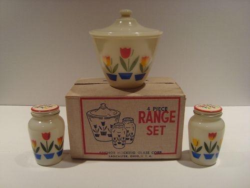 RARE 4 PC Fire King Ivory Tulip Range Set Grease Salt Pepper Mint in Box Mug | eBay